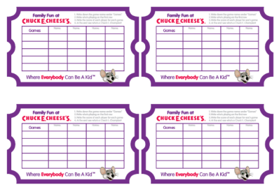 Chuck E Cheese Scorecards