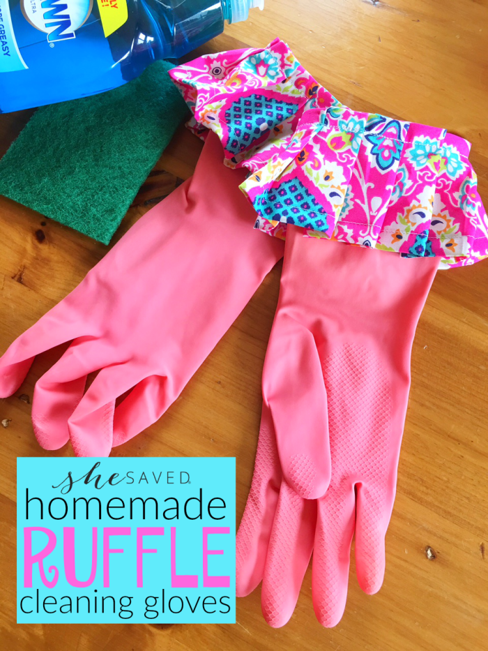 Make these fun Homemade Ruffle Cleaning Gloves for a Mother's Day gift or a fun craft project!