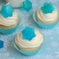 Festive Blue Snowflake Candy Cupcakes