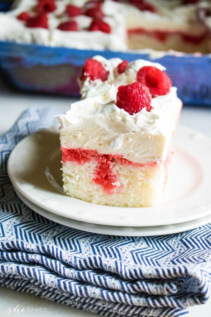 EASY Raspberry Cheesecake Poke Cake Recipe