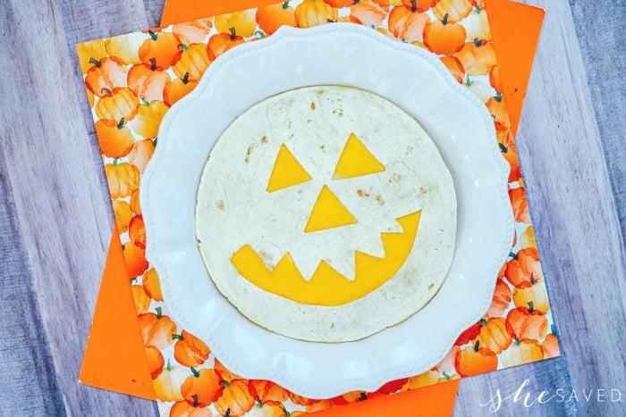 Pumpkin Face on Tortilla