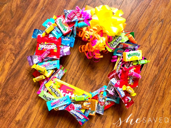 making a candy wreath 2