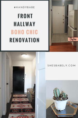 Before & After: Front Door Hallway Goes From Dark & Dingy To Light & Bright In This Boho Chic Entryway Renovation. See The Before & after Here. DIY Hallway Renovation Reno Entryway, Black Door | www.shesbabely.com