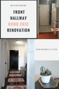 Before & After: Front Door Hallway Goes From Dark & Dingy To Light & Bright In This Boho Chic Entryway Renovation. See The Before & after Here. DIY Reno Entryway, Black Door | www.shesbabely.com
