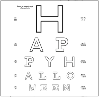 Eye chart for toddlers