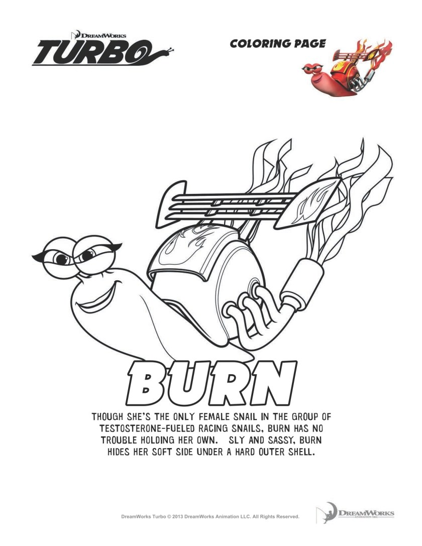 dreamworks turbo coloring pages & more #turbofastfun  she