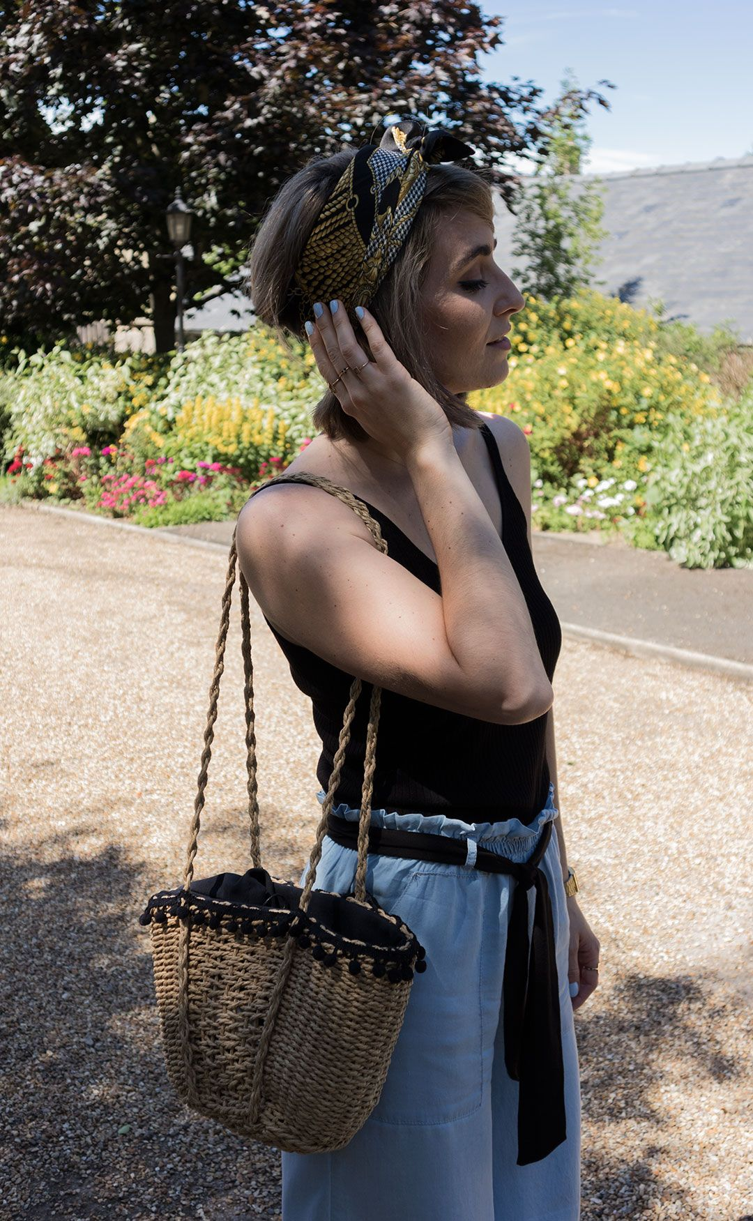 Baby Blue culottes | Black top & chunky sandals | Headscarf | Raffia Bag | Summer Bag | Light Chambray Culottes | Cambridge Fashion | Fen Ditton | She talks Glam | How to style culottes | How to wear culottes | Wide leg pants | Chic summer outfit | Summer outfit inspiration | 2017 it bag | ZARA pom-pom bag | Headband | Culottes are a girl's best friend (in summer)