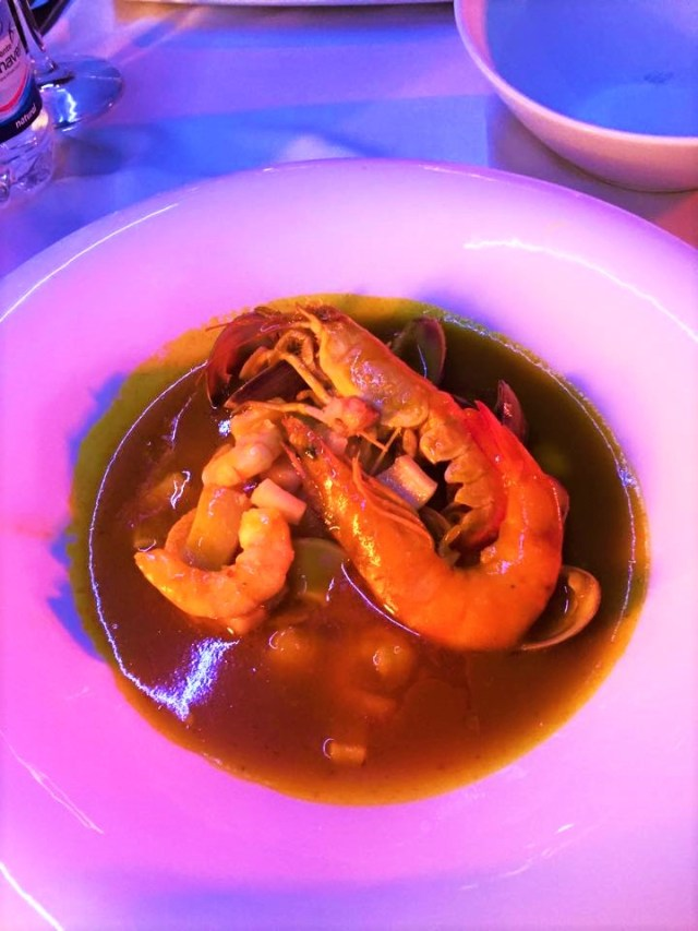 Seafood soup at one of the port restaurants in Malaga