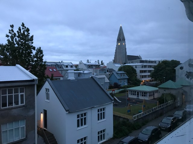 View from the living room of our Airbnb in Reykjavik