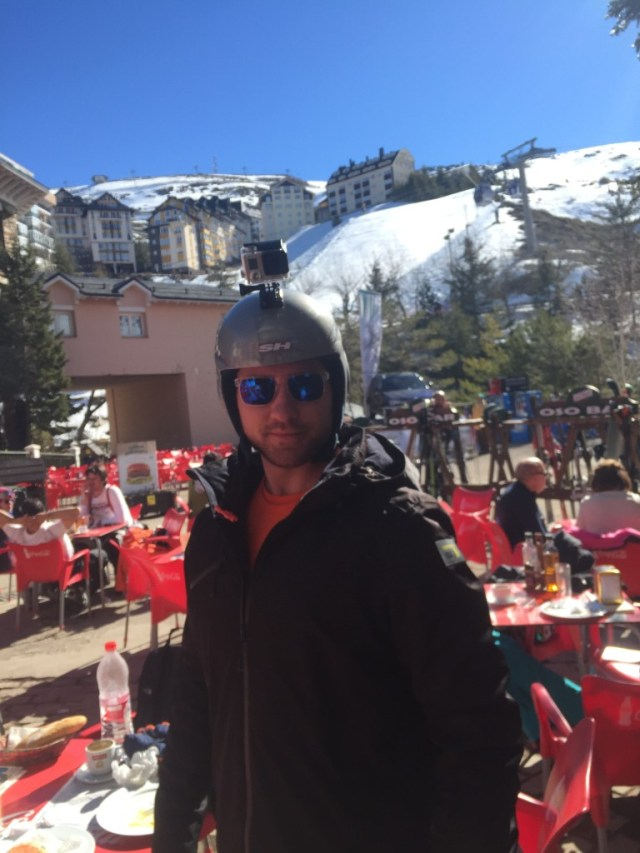 < James getting ready to ski >