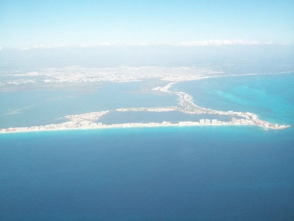 < Cancun from above >