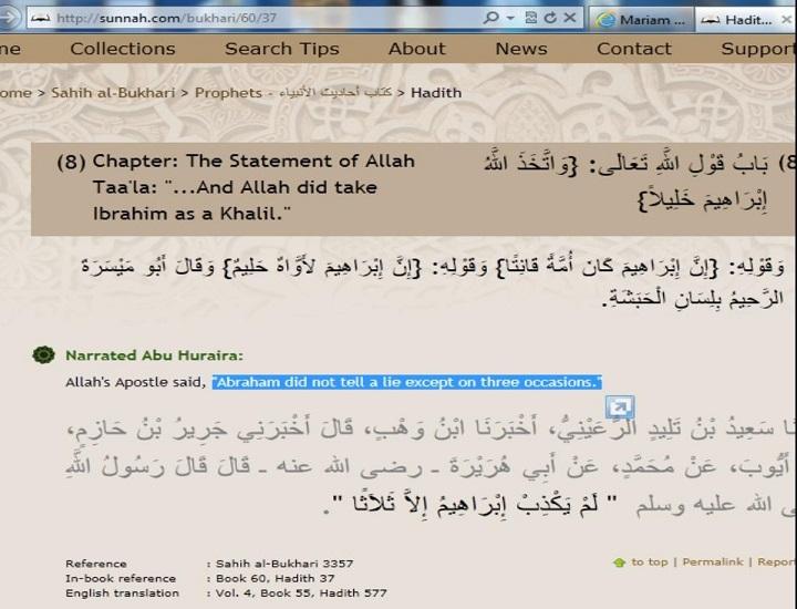 Prophet Ibrahim lied three time