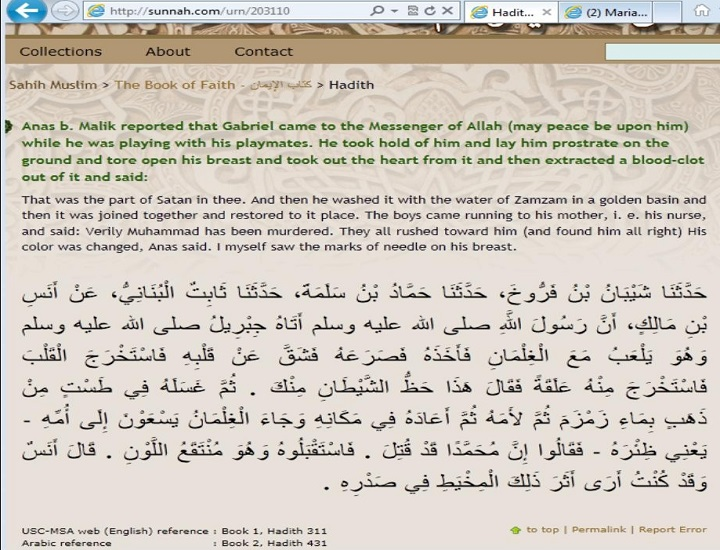 Prophet Mohammad pbuh had a piece in his heart related to Satan astaghferullah