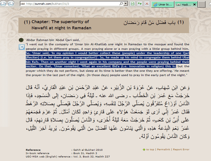 Umar bin Khattab says himself that my order is excellent Bidaa innovation in Islam