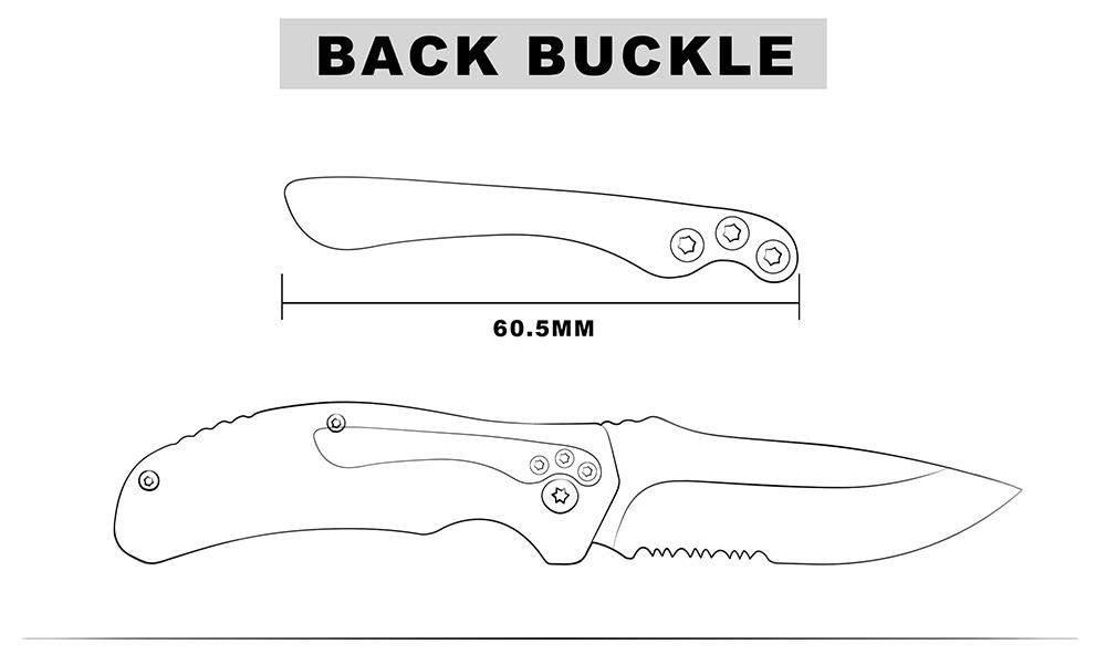 KSHIELD Custom Knife Model Back Buckle Drawing