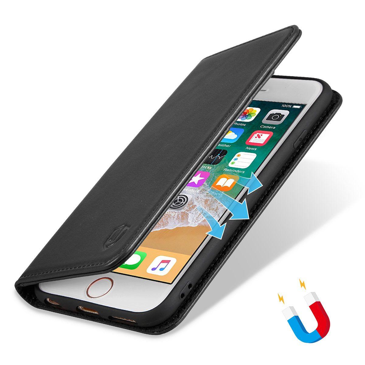 SHIELDON iPhone 6 Plus Folio Case - Genuine Leather Cover