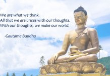 buddha statue and buddhist quote