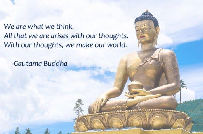 buddha statue and buddhist quote