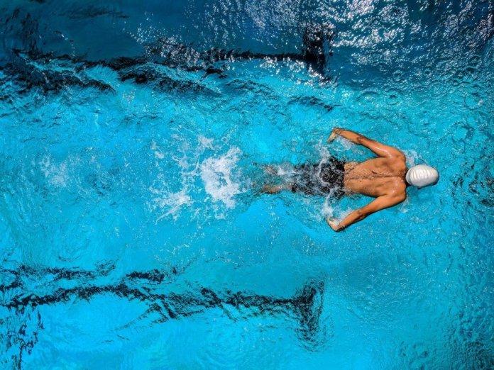 man swimming