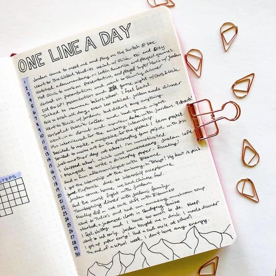Bullet Journal Spreads - One Line a Day
