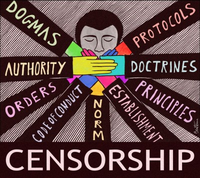 cartoon-of-head-with-many-hands-over-mouth-censorship