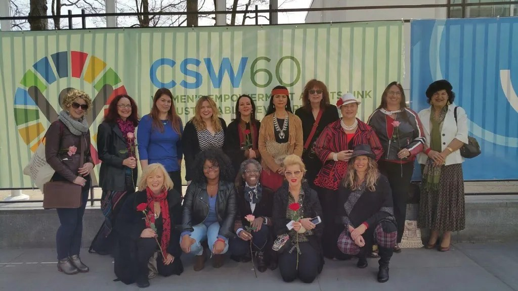UN CSW60 group in front of sign 2016