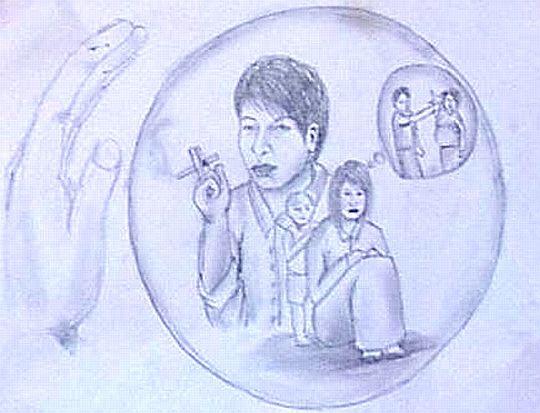 この絵や9月15日の記事に掲載した絵は、「モーニングスター」という若者が結成したグループの活動の一環として描かれた。