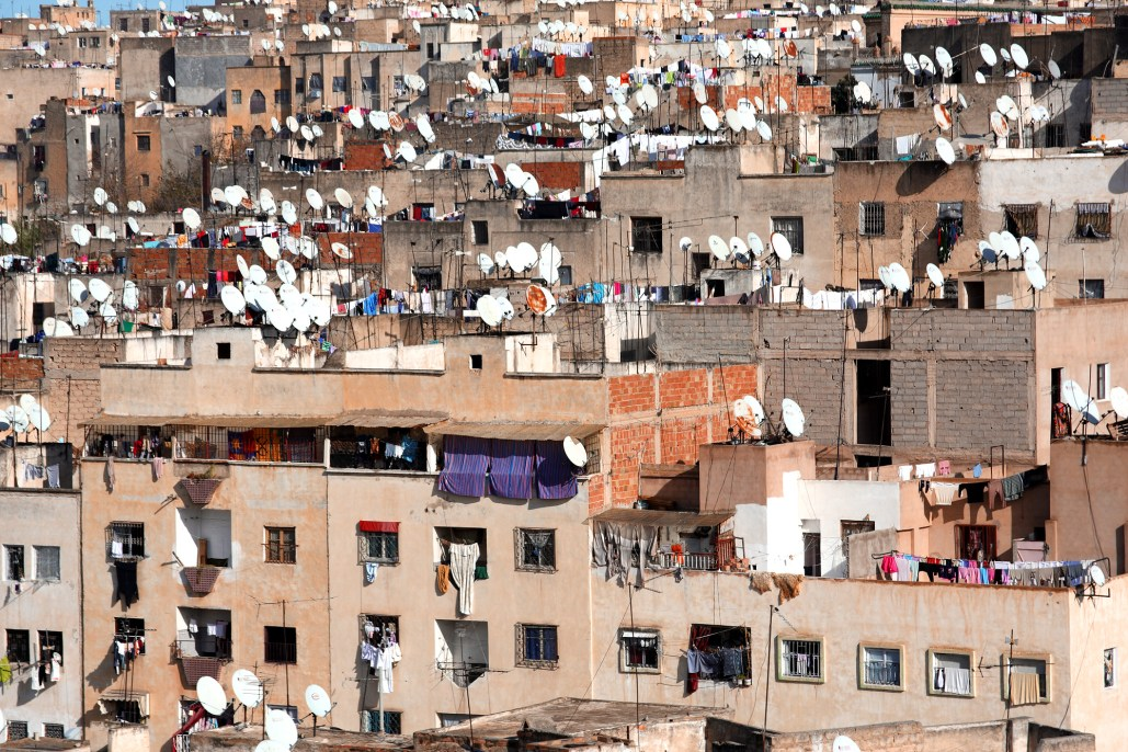 Satellite dishes and drying clothes in Fez