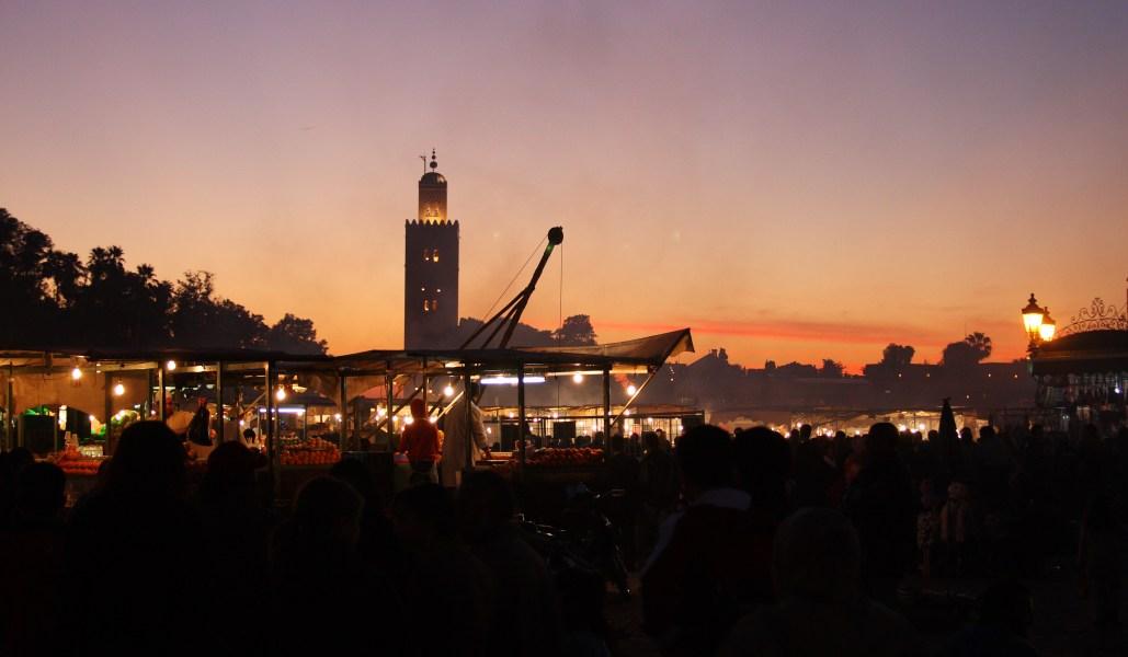 The sun sets over Koutoubia Mosque, Marrakesh