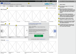 Wireframe of the Movies landing page with quickview functionality