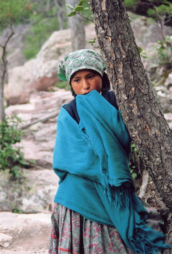 A Tarahumara girl in the Copper Canyon, Northern Mexico
