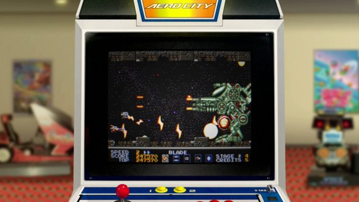 A screenshot from SEGA AGES Thunder Force AC, showing the game being played on a digital arcade cabinet.