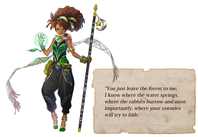 "Artwork for Marisa, one of the characters in Eiyuden Chronicle. A text box features a quote from her that reads, ""You just leave the forst to me. I know where the water springs, where the rabbits burrow-and most importantly, where your enemies will try to hide."""