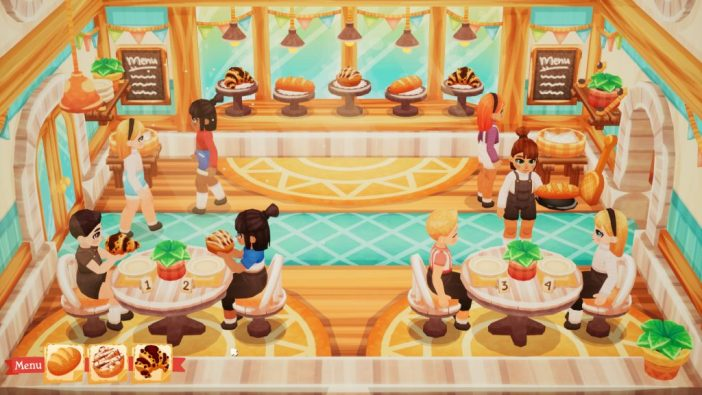 A screenshot from Lemon Cake, showing the customer area of a bakery. There are a few people sitting at tables, and a bench with various baked goods on display.