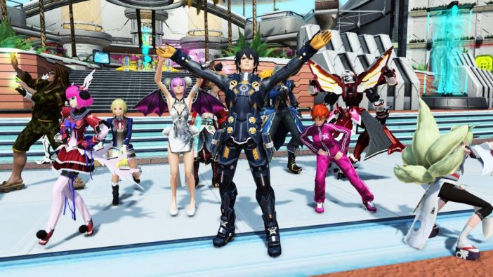 A screenshot from Phantasy Star Online 2, showing a group of characters in a social hub area wearing colourful clothes and dancing.
