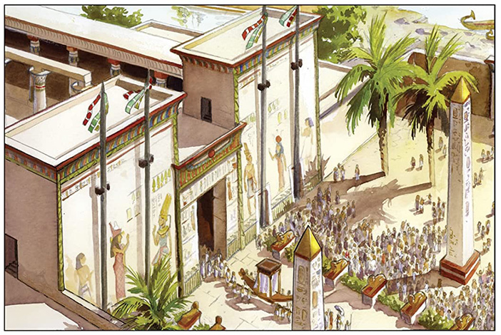 An image from The Straw King, showing a high-angle shot of a busy Ancient Egyptian plaza
