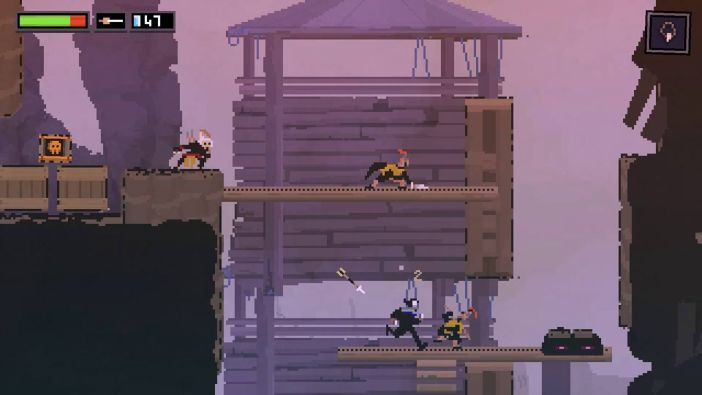 A screenshot from the Switch version of Olija.