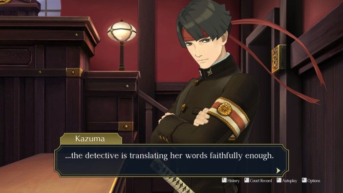 A screenshot from The Great Ace Attorney Chronicles