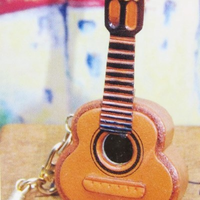 diy leather keyring guitar