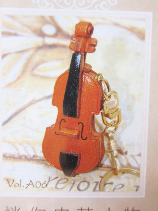 diy leather keyring violin
