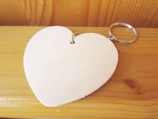 blank wood heart keyring