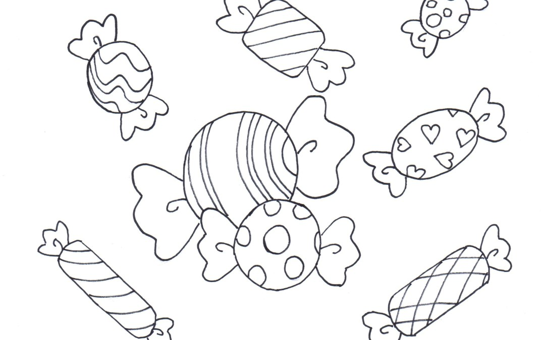 Free Printable Coloring Page / Calendar – Party Food (Candies)