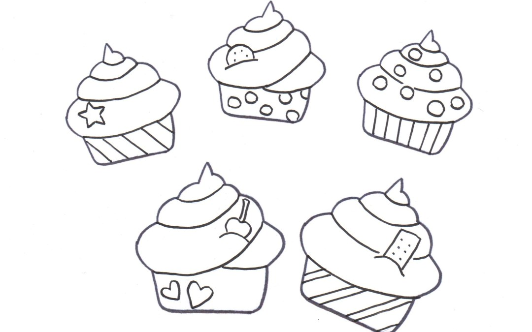 Free Printable Coloring Page / Calendar – Party Food (Cupcakes)