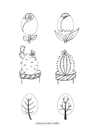 Free Printable Kids Simple Drawing / Coloring – Easter Eggs plants