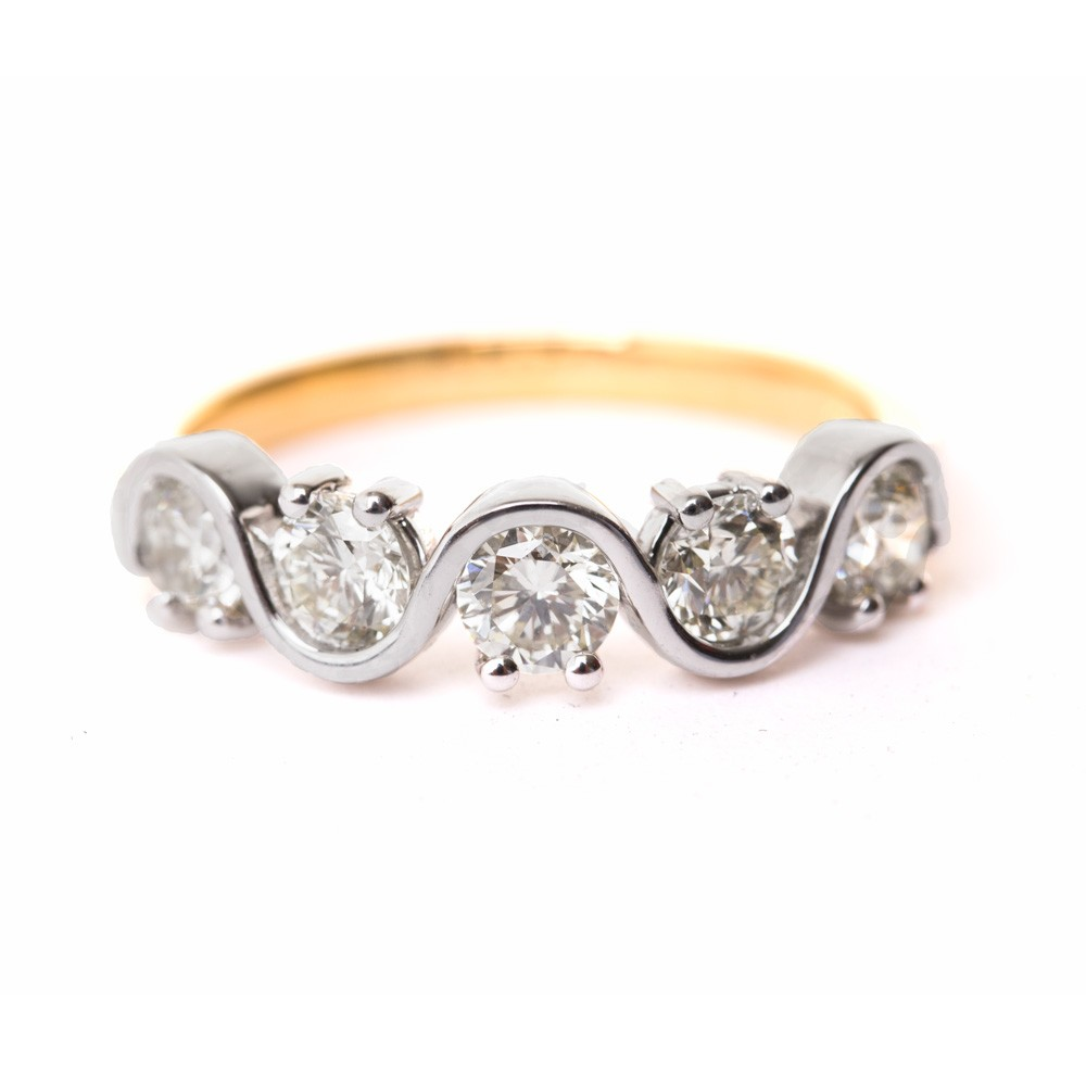 LEO Round cut 5 Stone Diamond Eternity Ring