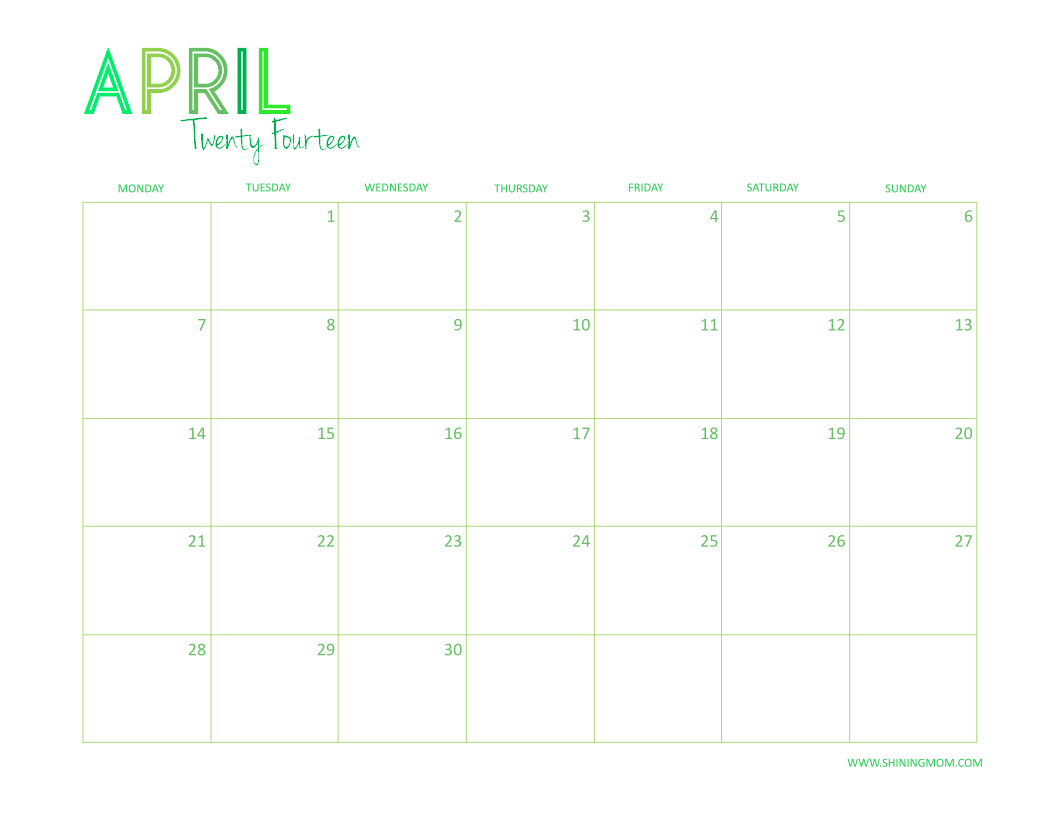 APRIL 2014 FREE DESKTOP CALENDAR