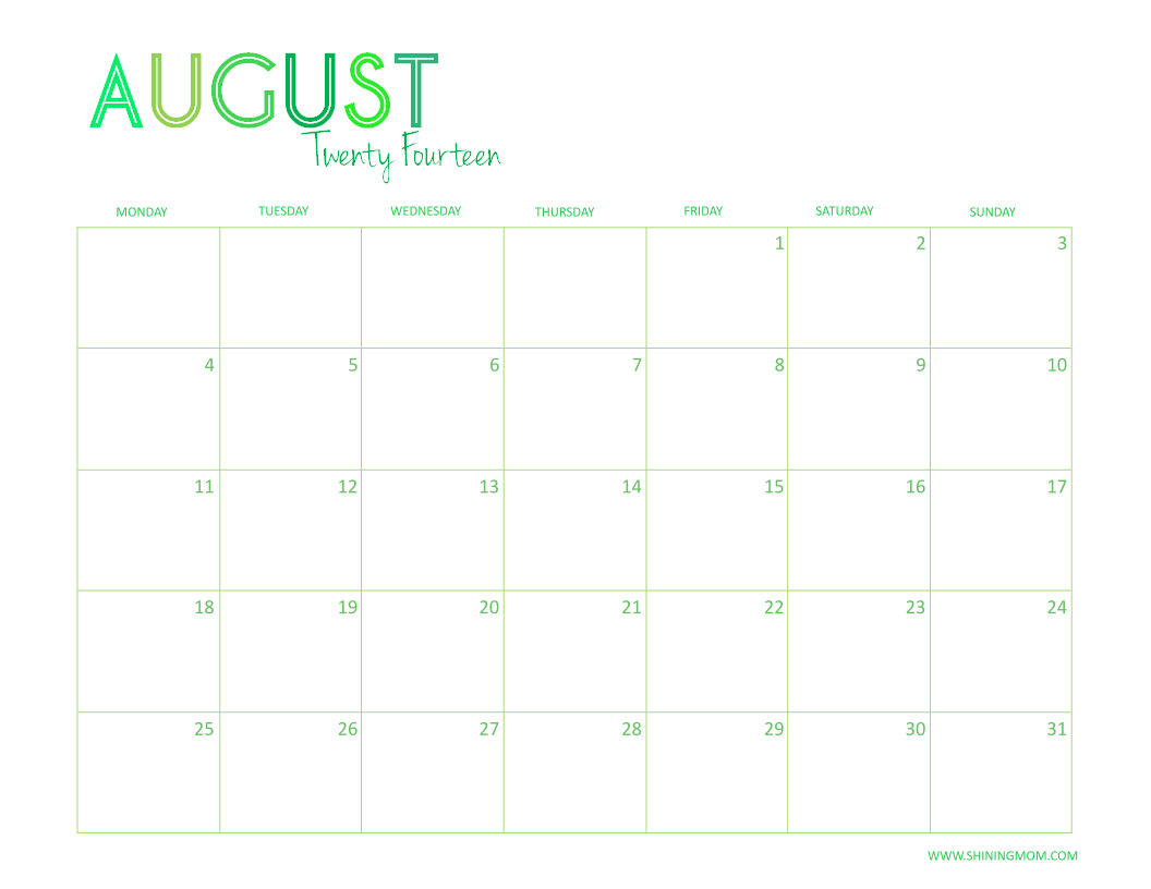 August Calendar 2014 : Free printable desktop calendar
