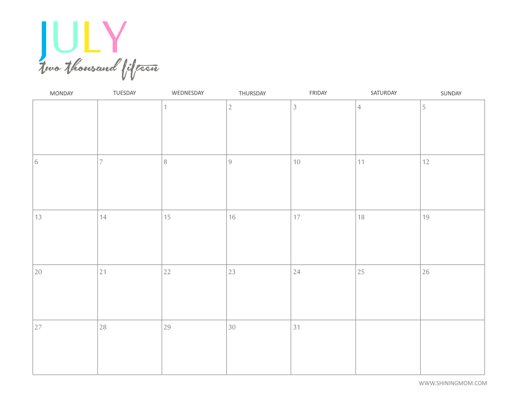 Calendar Ideas For July : The printable monthly calendar by shiningmom is here