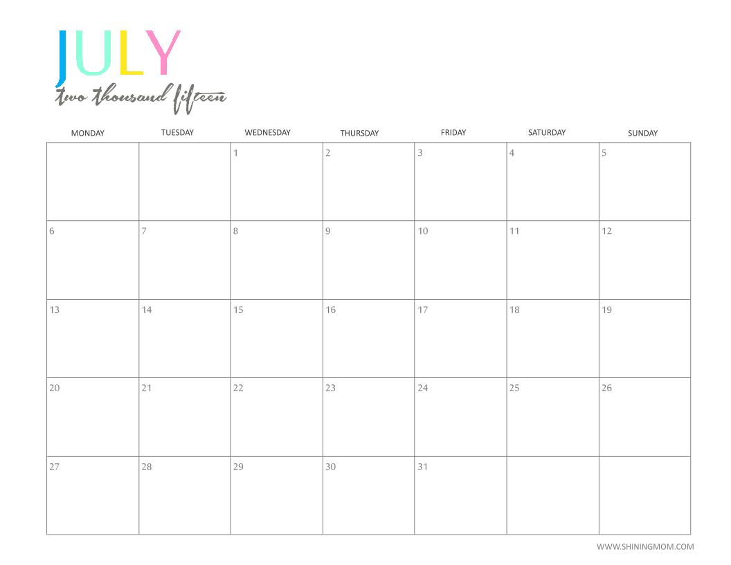 july 2015 calendar free printable