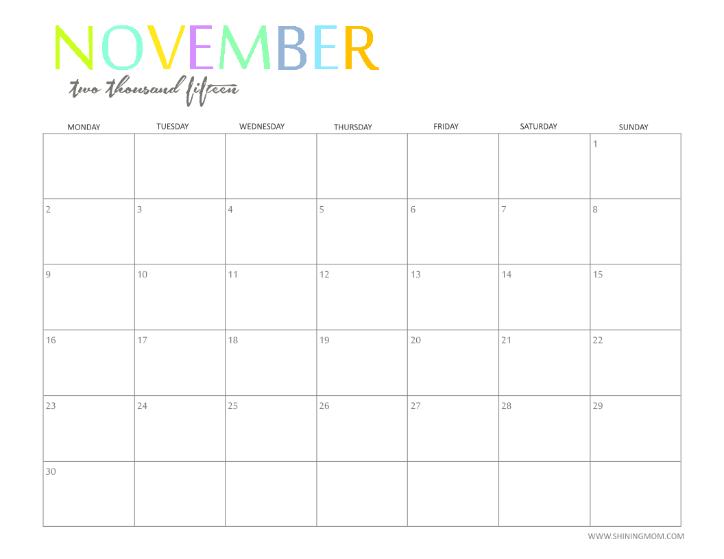The Printable 2015 Monthly Calendar By Shiningmom Com Is Here .
